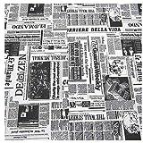 Stoff Meter Zeitung Baumwolle pflegeleicht schwarz weiß