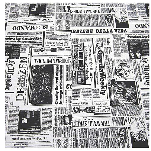 Stoff Meter Zeitung Baumwolle pflegeleicht schwarz weiß Tischdecke (Zeitung Kostüm)