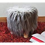 The Home Talk Trendy, Soft Faux Fur Stool, 3 Wooden Legs, Best for Bedroom/Living Room/Dressing Room/Kids Room, Soft, Comfortable- Grey
