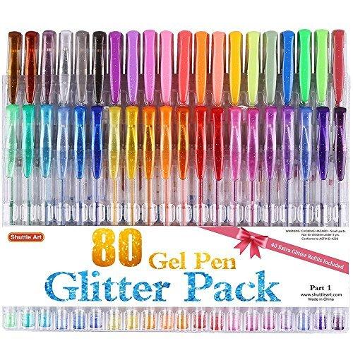Gelstifte Glitzer, Shuttle Art 80 Pack Gelschreiber Set 40 Farben Glitzer Gelstifte mit 40 Nachfüllungen für Erwachsene zum Malbuch Doodling Zeichnung Schreiben
