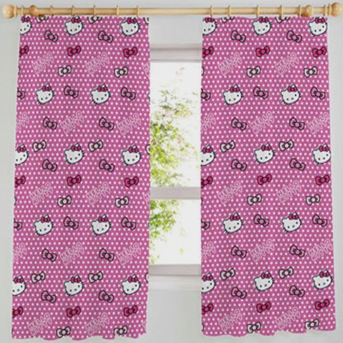Hello Kitty Vorhänge, 100% Baumwolle, 1,67x1,37cm, Design Pink mit Schleifen und weißen Punkten