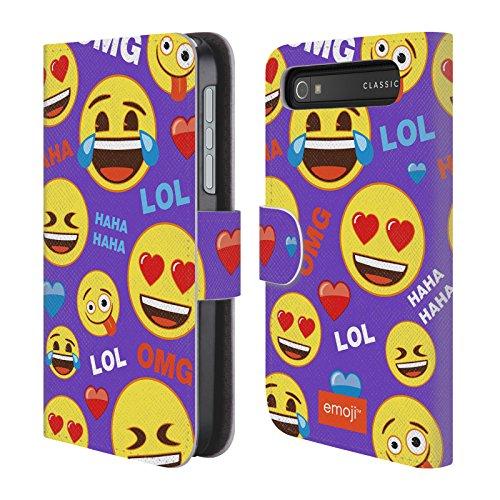 Offizielle Emoji Glücklich Gesichter Wohnung Brieftasche Handyhülle aus Leder für BlackBerry Classic Q20 (Glückliches Gesicht Classic)
