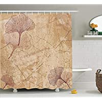Beige Decor Shower Curtain Set, Small Large Ginkgo Leaves Pattern Dramatic Dated Fossil Maidenhair Tree