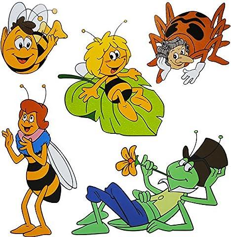 """2 versch. Bögen _ XL Fensterbilder - GLITZER Effekt - """" die kleine Biene Maja """" - statisch haftend - selbstklebend + wiederverwendbar / Sticker Fenstersticker Aufkleber - Fensterbild - Tiere Honig - Bienen Honigbiene - z.B. für Fenster und Spiegel - Fensterdeko Fensterfolie Kinderzimmer Deko - Tiermotiv"""