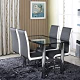 Minifair 10mm Rectangle Glass Dining Table And Chiars Set & 4 Grey White Faux Leather Chairs Chrome Leg