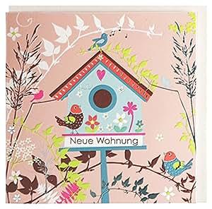 gl ckwunschkarte zum einzug neue wohnung vogelhaus b robedarf schreibwaren. Black Bedroom Furniture Sets. Home Design Ideas