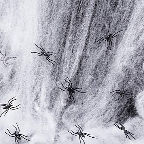 Boao Halloween Strecken Spinne Netz Spuk Spinnennetz Gurtbandglühen in Dunkelheit mit 30 Gefälschte Spinnen für Halloween Dekorationen Indoor und Outdoor