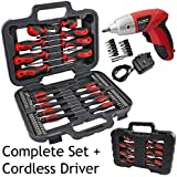 SPARES2GO Complete Magnetic Screwdriver & Bit Tool Kit   Mini Cordless Rechargeable Electric Screwdriver