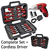 Spares2go Complete Magnetic Screwdriver & Bit Tool Kit + Mini Cordless Rechargeable Electric