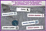 Etiquetas para marcar la ropa, pegado con plancha 50 unidades