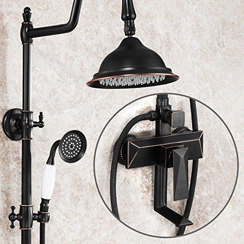 YSRBath Moderne Badzimmer Waschbecken Waschtischarmatur Messing Antik Duschkopf Schwarz Kupfer Dusche Anheben Mischbatterie Bad Küchenspüle Armaturen Wasserhahn