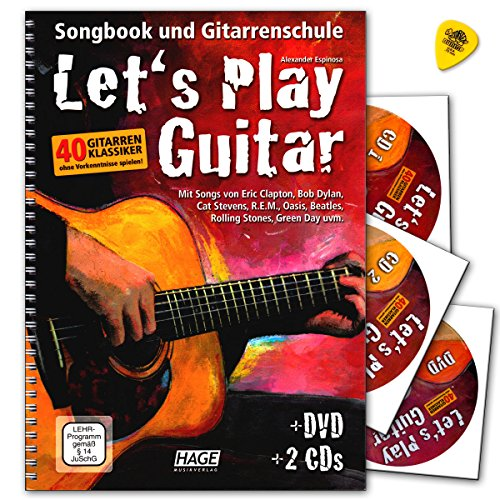 Let's Play Guitar Band 1 mit 2 CDs, DVD und Dunlop Plek - Songbook und Gitarrenschule : Gitarre spielen lernen mit 40 Gitarrenklassikern - Verlag Hage - EH3757 9783866261587 - Gesang-buch Der Mit Cd
