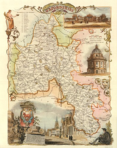 Oxfordshire-Antike Weltkarte-- Karte, 50.80 x 40.64 cm - County England-antik-karte
