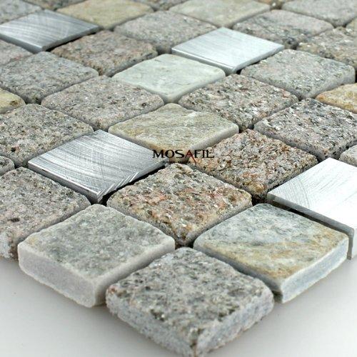 Quarzit Alu Naturstein Mosaik Fliesen Aluminium 23x23x8mm
