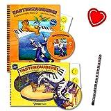 Tastenzauberei ist eine Klavierschule von Aniko Drabon für Kinder und Jugendliche für den Einzel- und Gruppenunterricht - mit 2 CDs, 14 Smiley-Sticker, mit herzförmiger Notenklammer, Piano-Bleistift