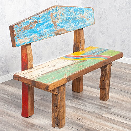 Sitzbank WICKIE Holz recycelt bunt ca. 110cm Bank Gartenbank Dekobank