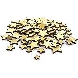 Kartengestaltung 100 St/ück gemischt Holzsterne zum Basteln f/ür Scrapbooking Dekoration