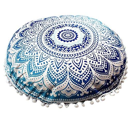 Watopi - Funda de cojín Redonda con Pompones y diseño de Mandala