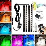 Car LED Strip Lights, AMBOTHER 4X12 LED 8 Colors USB Car...