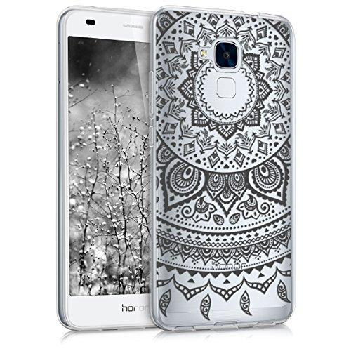 kwmobile Crystal Case Hülle für Huawei Honor 5C aus TPU Silikon mit Indische Sonne Design - Schutzhülle Cover klar in Schwarz Transparent