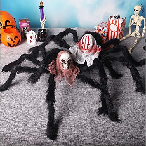 WEYQ Spinne Dekorationen Halloween Spinnen Outdoor Hairy beweglich beängstigend für riesige große gefälschte Requisiten Hof gruselig Dekor schwarz 2PCS