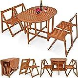 Deuba Balkonset Garnitur 4+1 aus Akazien Hartholz | platzsparend zusammenklappbar | verschiedene Aufstellmöglichkeiten - Sitzgruppe Sitzgarnitur Balkontisch 5 tlg. Balkon Möbel Set