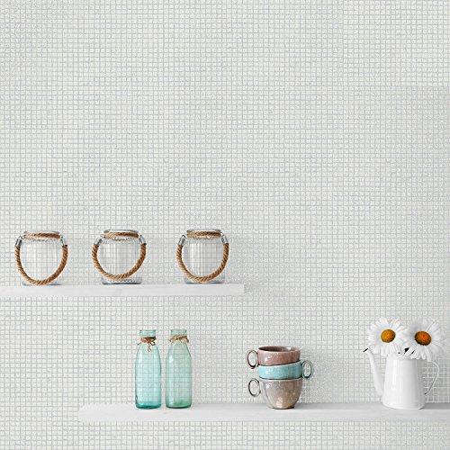 New Crown - Small Mosaic Tile Effect - White - Glitter Luxury Wallpaper M1056
