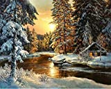 YEESAM ART Neuheiten Malen nach Zahlen Erwachsene Kinder, Sonnenuntergang Wald Fluss Schnee Szene 40x50 cm Leinen Segeltuch, DIY ölgemälde Weihnachten Geschenke (Bäume, Ohne Frame)