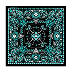 """Hot Leathers Signature Bikers Bandanas Collection Original Design, 21"""" x 21"""" - BANDANA LADY BLUE PAISLEY SKULL by Officially Licensed & Trademarked Products"""