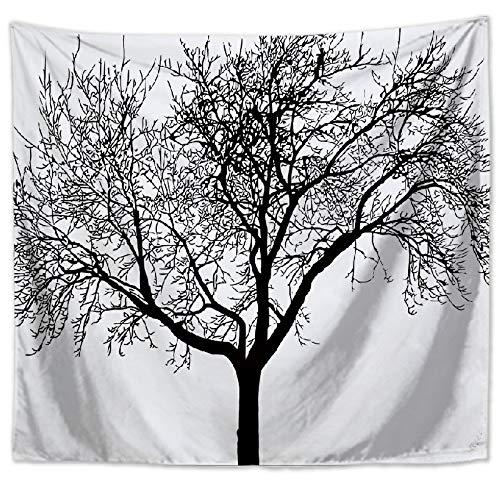 Lartum Tapestry Wall Hanging,Retro Literarischer Natur Landschaft Psychedelischen Grau Baum Drucken Fabric Home Wohnzimmer Sofa Hintergrund Wandteppich Dekorative Strandtuch, 150 X 130 cm -
