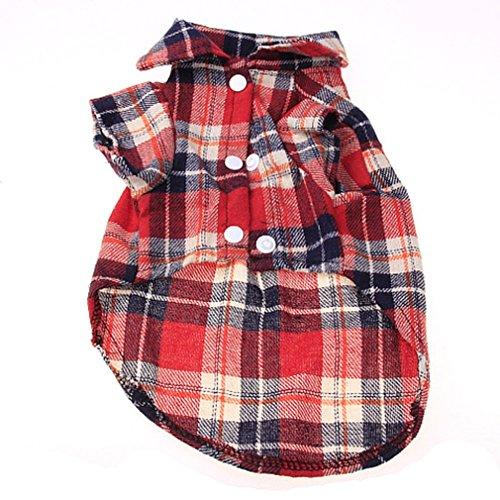 Hilai À la Mode Plaid PET Shirt Chien Chemise d'été Casual Chien Tops Dog vêtements Rouge L