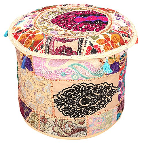 Stylo Culture Reposapiés Puf Otomano Revestimiento Vintage Beige Bordado Étnico de Algodón Revestimiento Puf Otomano Tradicional de Tela Redondo (18x18x13 Pulgadas) 45 cm