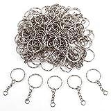 100 x Schlüsselring Schlüsselringe Schlüsselanhänger mit Kette Keyring Chain 25mm Modeschmuck DIY Zubehör