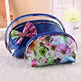 WOMHOPE Set Of 3 Pcs - Flower Cosmetic Bag Cosmetic Organizer Make Up Travel Bag Pouch Cosmetic Storage Holder...