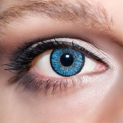 KwikSibs farbige Kontaktlinsen, hellblau, 2-farbig, weich, inklusive Behälter, BC 8.6 mm / DIA 14.0 / 0,00 Dioptrien (ohne Stärke), 1er Pack (1 x 2 Stück)