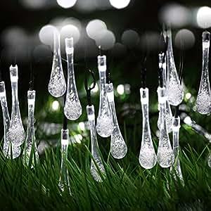 Dax-Hub 6M 30LED luci stringa solare del LED con multicolore goccioline di acqua per il Natale, Patio, Prato, Recinto, esterno, decorazione perfetta per la casa, esterna, Albero di natale, Centro commerciale, Holiday & Festival Celebration (gocce d'acqua - 6M30LED, Bianco)