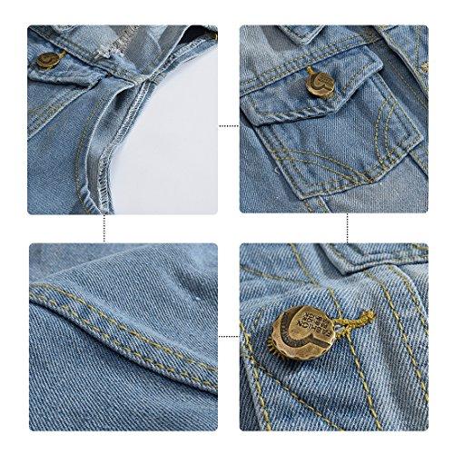 YOUTHUP Herren Jeans Denim Weste fashion Jeans Casual Weste Blau