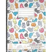 "Liniertes Notizbuch • A4-Format, 100+ Seiten, Soft Cover, Register, Mit Rand, ""Verückte Katzen"" • Original #GoodMemos Lined Notebook • Perfekt als Deutschheft, Schulheft, Übungsheft, Lineatur 27"