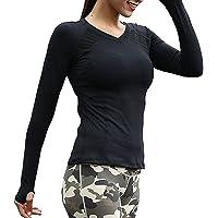 Azornic Womens/Ladies Sports Gym Yoga Tops Quick-Dry Long Sleeve Slim Performance T-Shirt Sweatshirt