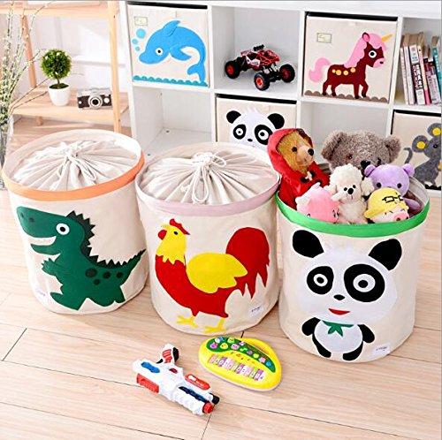 UCTOP STORE großes Fassungsvermögen Cute Spielzeug Aufbewahrungsbox mit Deckel Baumwolle Wasserdicht Waschbar CD Aufbewahrung Eimer behindern Kordelzug Zylinder Container Farbe zufällige (Waschküche Container)
