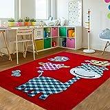 Niños alfombra infantil Carpet búho gato pájaro 4Tamaños & 4colores Top Precio, polipropileno, rojo, 80 x 150 cm