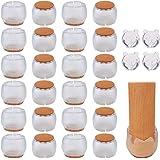 Protectores Patas Sillas, 24Pcs Silla Pierna Caps Tabla de Muebles Fundas para Protectores de Suelo de Madera para Evitar Ara