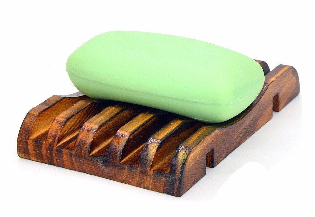estropajo jab/ón 2/pcs mano Craft Natural de madera jabonera ba/ño madera jabonera dise/ño de soporte para esponjas