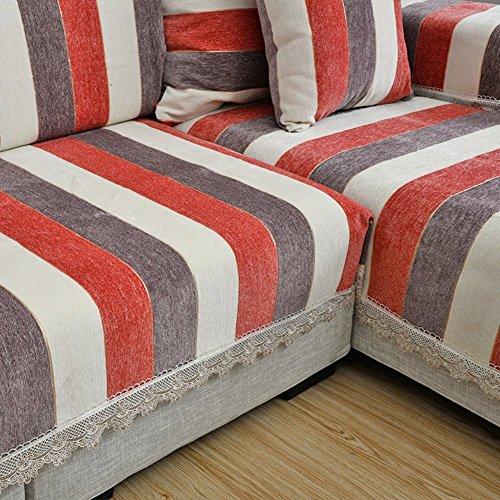 Gestreiften Sofa Slipcovers, Sofa Deckel 1-teilig polyester Rutschfeste verschleißfeste Abdeckung Tuch für Sofa Pet schutz Möbel Protector - braun 90 x 80 cm (35 x 31 Zoll)