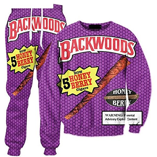 Pants Backwoods Honig Berry Blunts 3D Over Print Trainingsanzüge Sweatshirts Hipster Casual Kordelzug Casual Hosen Frauen Männer BWT L (Blunt Papers)