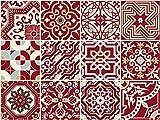 The Nisha Adhesivo de Pared Salpicadero de Vinilo Azulejos Adhesivos Arte Ecléctico para la Cocina, Juego de 24 Adhesivos, 10x10 cm, Maroon Red