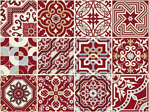 The Nisha 24 PC Peel and Stick Wall Tile Stickers Wandtattoo Wandkleber Backsplash Vinyl Fliesenkleber Abziehbilder Kunst Küche & Badkamer Ecletic, 10x10 cm, Kastanienbraun rot -