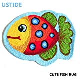 ustide Süßes Fisch Teppich blau handgefertigt Badteppich Animal Teppiche für Kinder Waschbar, rutschhemmenden Boden Teppiche für Schlafzimmer die Sauberlaufmatten 2x 3