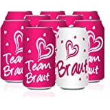 Oblique Unique® Braut + Team Braut Sticker Set Dosen Flaschen Etikett Aufkleber JGA Junggesellinnenabschied Hen Party Pink Weiß