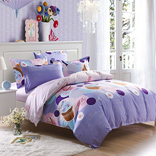 Soft 4 Pcs Bed Sheet Set Durable Quality Cotton Sheet & Pillowcase Sets ,E Queen (Cotton Bed Sheet Set Queen)